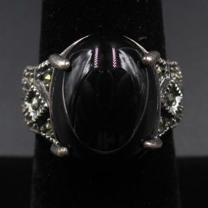 Vintage Size 6 Sterling Silver Maracite Ring